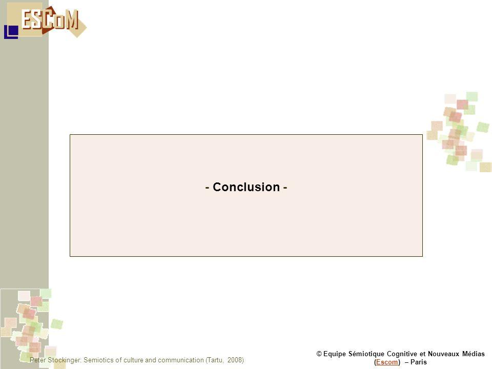 © Equipe Sémiotique Cognitive et Nouveaux Médias (Escom) – ParisEscom - Conclusion - Peter Stockinger: Semiotics of culture and communication (Tartu, 2008)