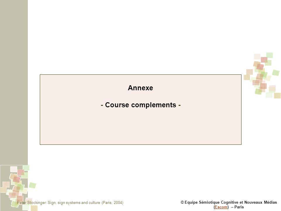 © Equipe Sémiotique Cognitive et Nouveaux Médias (Escom) – ParisEscom Annexe - Course complements - Peter Stockinger: Sign, sign systems and culture (