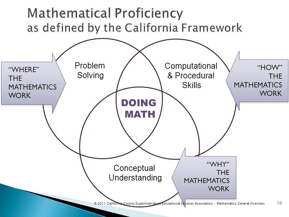 Problem Solving Computational & Procedural Skills DOING MATH Conceptual Understanding WHERE THE MATHEMATICS WORK HOW THE MATHEMATICS WORK WHY THE MATH