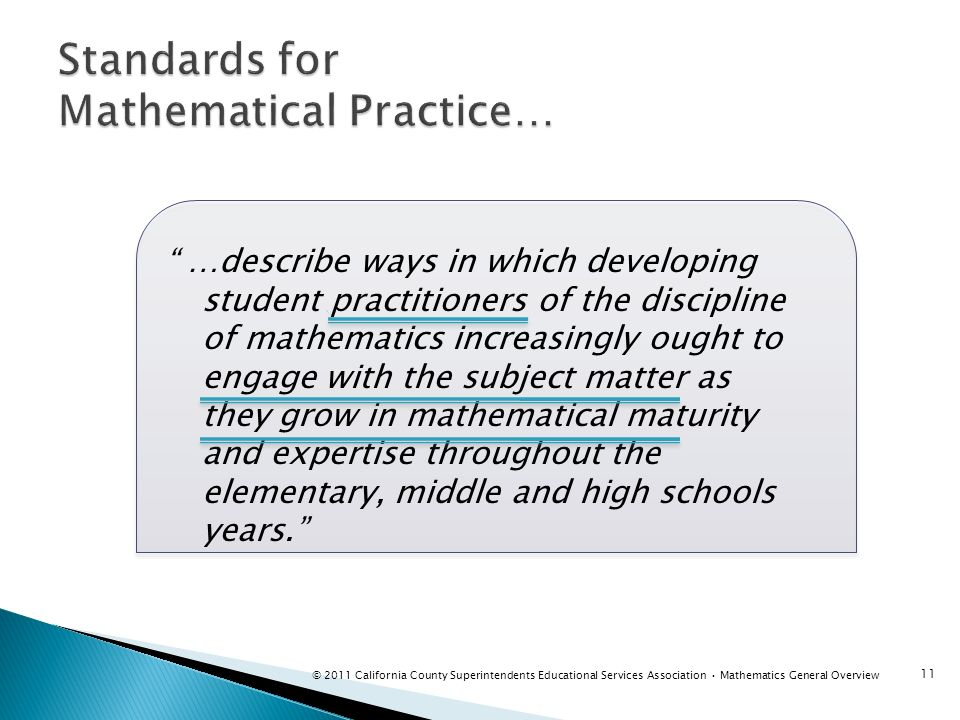 …describe ways in which developing student practitioners of the discipline of mathematics increasingly ought to engage with the subject matter as they