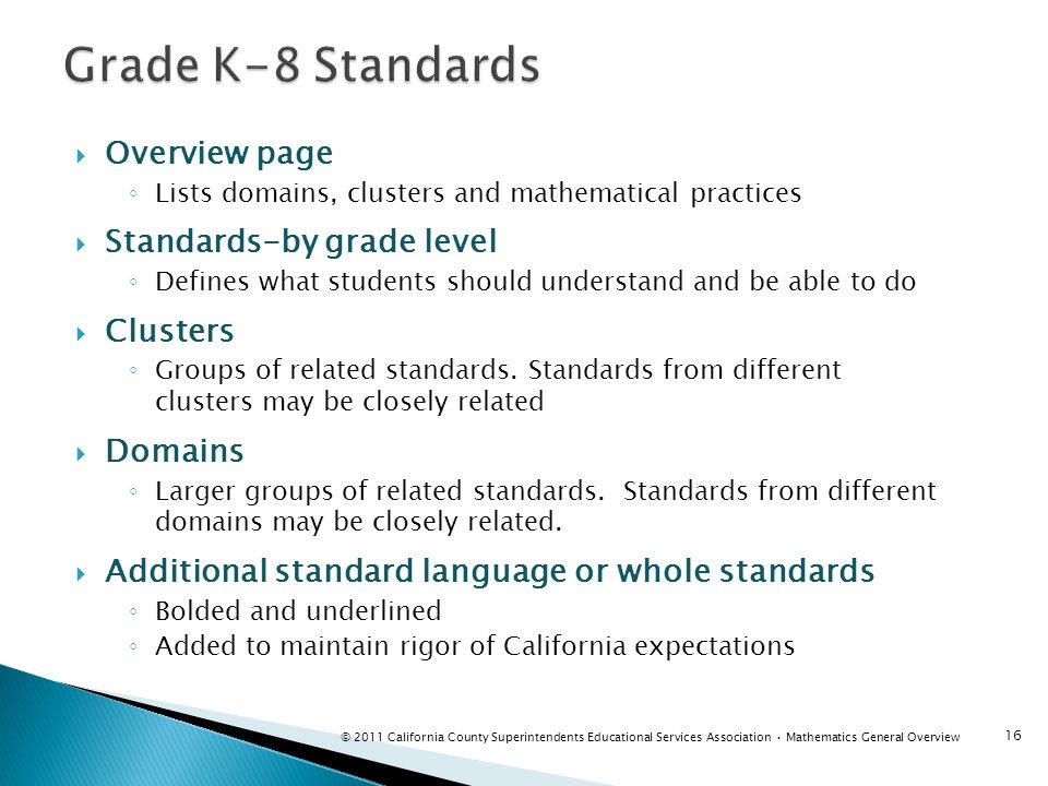 Overview page Lists domains, clusters and mathematical practices Standards-by grade level Defines what students should understand and be able to do Cl
