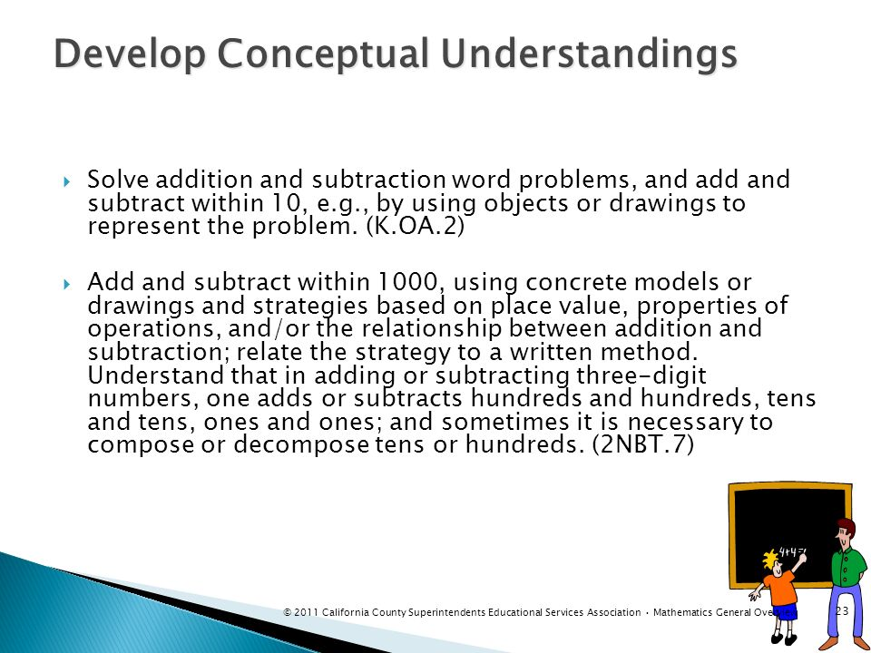 Develop Conceptual Understandings Solve addition and subtraction word problems, and add and subtract within 10, e.g., by using objects or drawings to