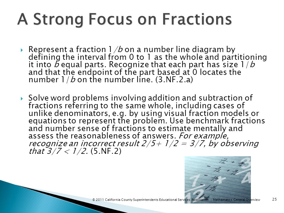 A Strong Focus on Fractions Represent a fraction 1/b on a number line diagram by defining the interval from 0 to 1 as the whole and partitioning it in