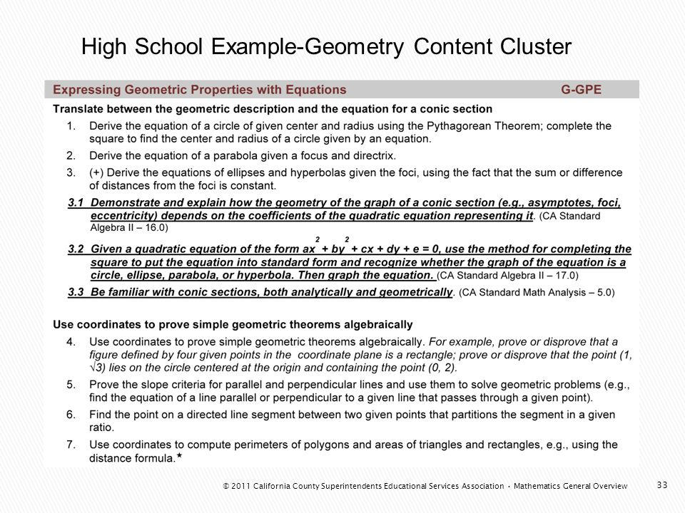 High School Example-Geometry Content Cluster 33 © 2011 California County Superintendents Educational Services Association Mathematics General Overview