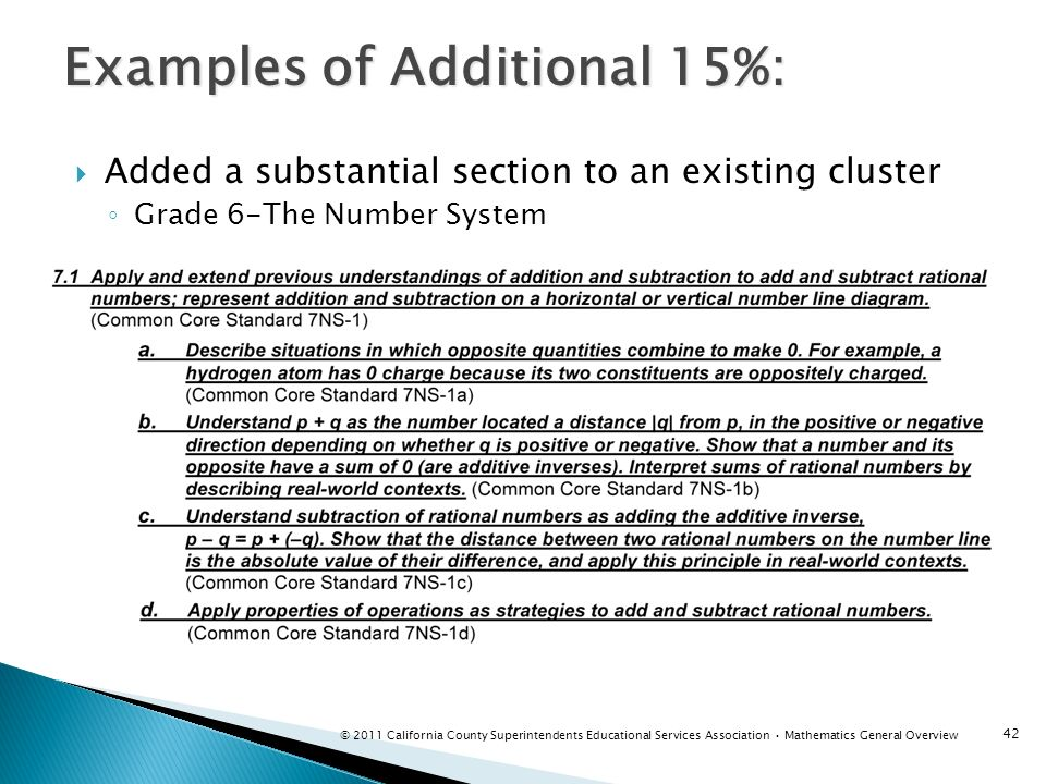 Added a substantial section to an existing cluster Grade 6-The Number System Examples of Additional 15%: 42 © 2011 California County Superintendents E