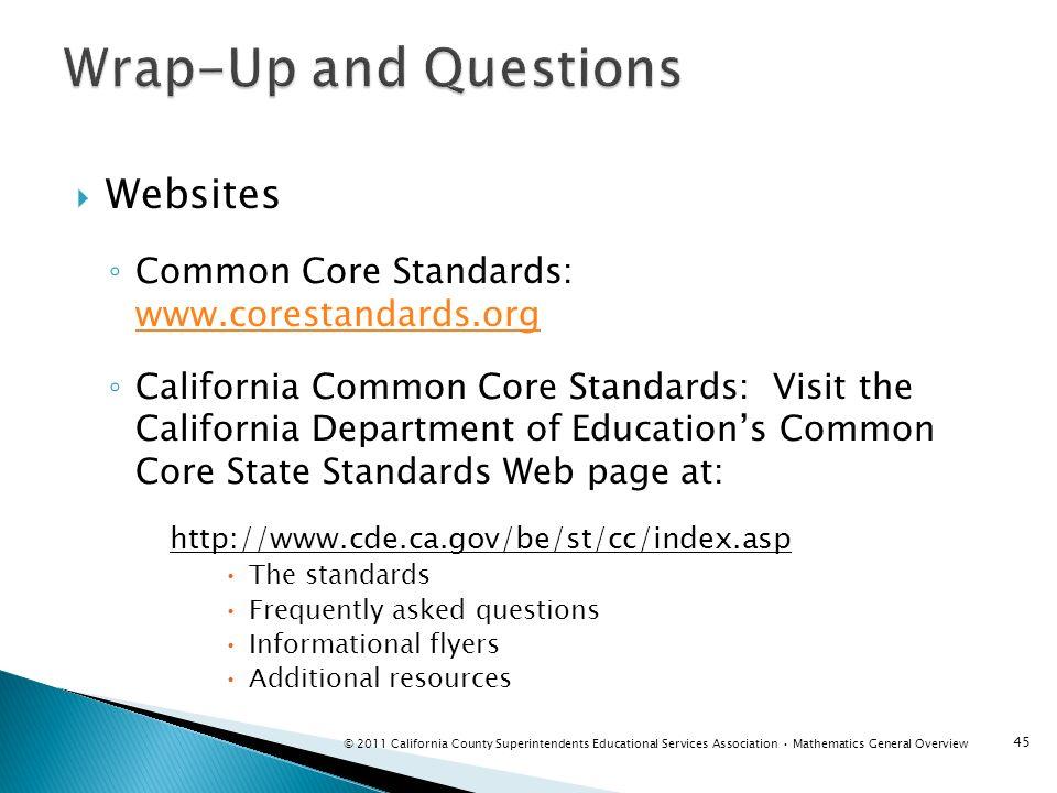 Websites Common Core Standards: www.corestandards.org www.corestandards.org California Common Core Standards: Visit the California Department of Educa