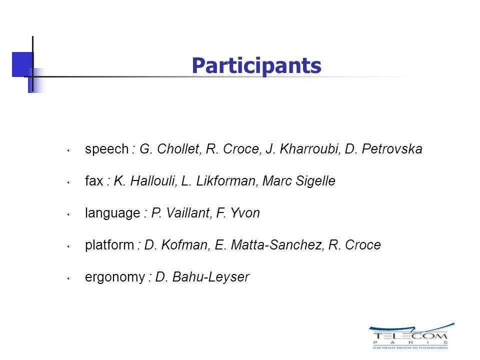 Participants speech : G. Chollet, R. Croce, J. Kharroubi, D. Petrovska fax : K. Hallouli, L. Likforman, Marc Sigelle language : P. Vaillant, F. Yvon p