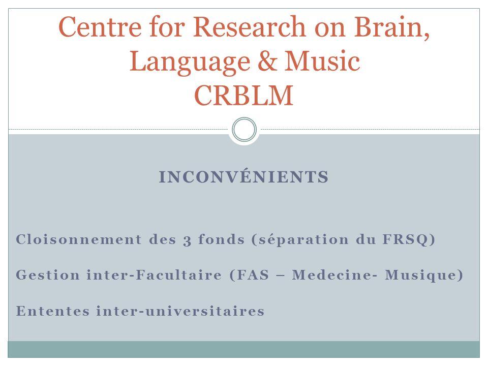 INCONVÉNIENTS Cloisonnement des 3 fonds (séparation du FRSQ) Gestion inter-Facultaire (FAS – Medecine- Musique) Ententes inter-universitaires Centre f