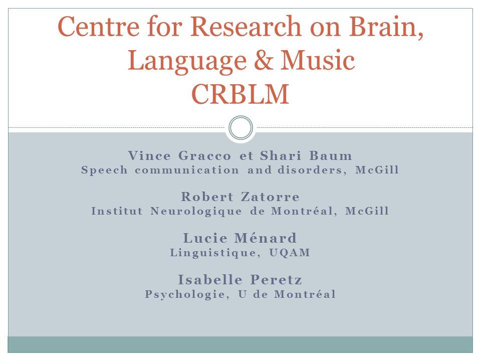Vince Gracco et Shari Baum Speech communication and disorders, McGill Robert Zatorre Institut Neurologique de Montréal, McGill Lucie Ménard Linguistiq