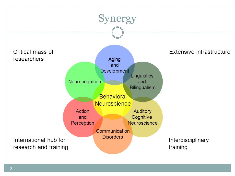 Synergy Auditory Cognitive Neuroscience Action and Perception Behavioral Neuroscience Aging and Development Linguistics and Bilingualism Communication