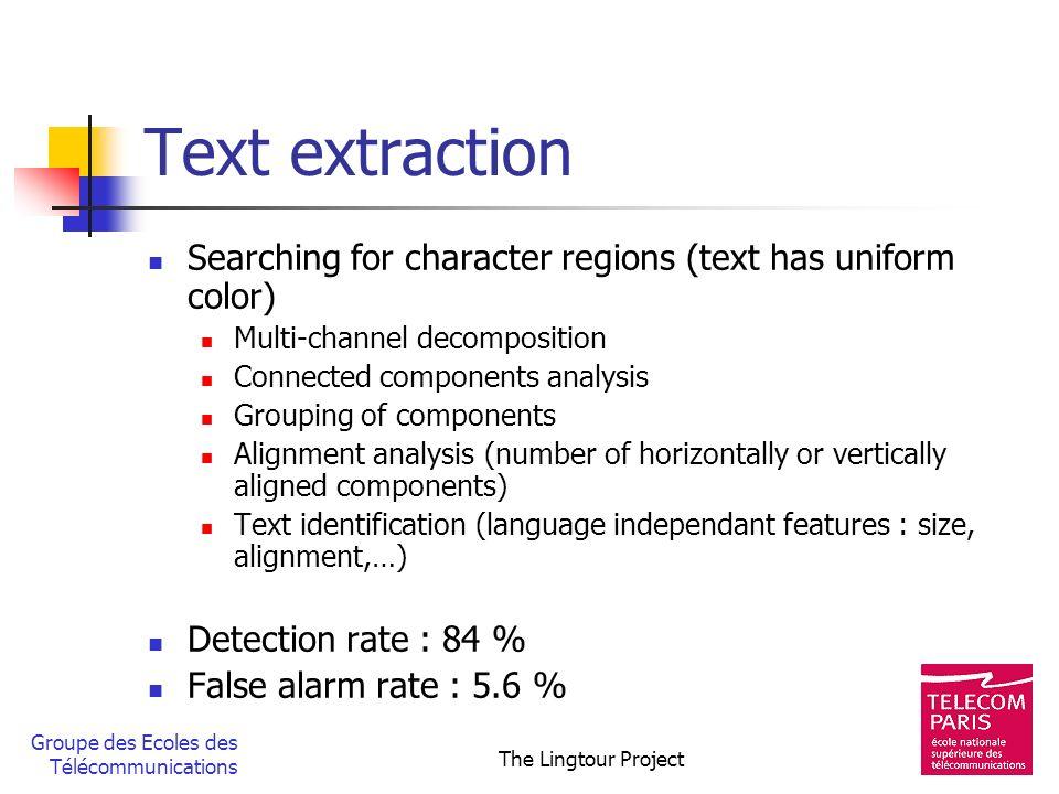 Groupe des Ecoles des Télécommunications The Lingtour Project Text extraction Searching for character regions (text has uniform color) Multi-channel d