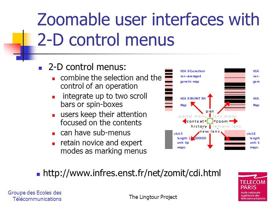 Groupe des Ecoles des Télécommunications The Lingtour Project Zoomable user interfaces with 2-D control menus 2-D control menus: combine the selection