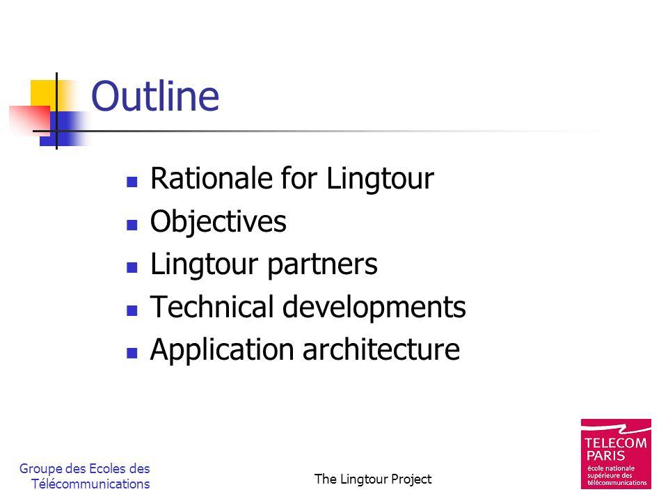Groupe des Ecoles des Télécommunications The Lingtour Project Outline Rationale for Lingtour Objectives Lingtour partners Technical developments Appli