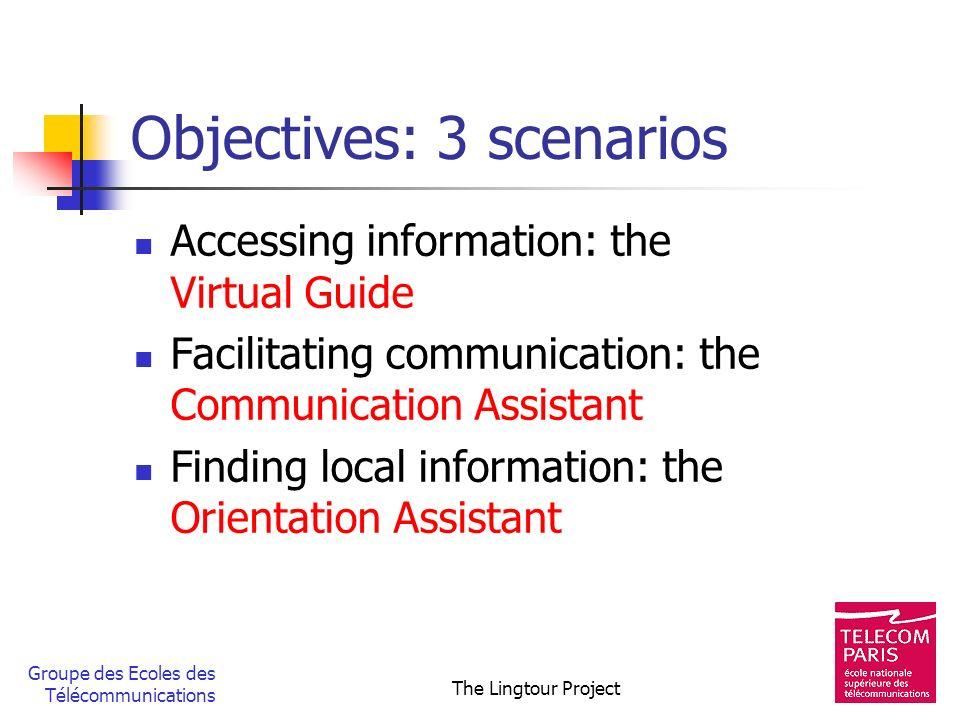 Groupe des Ecoles des Télécommunications The Lingtour Project Objectives: 3 scenarios Accessing information: the Virtual Guide Facilitating communicat