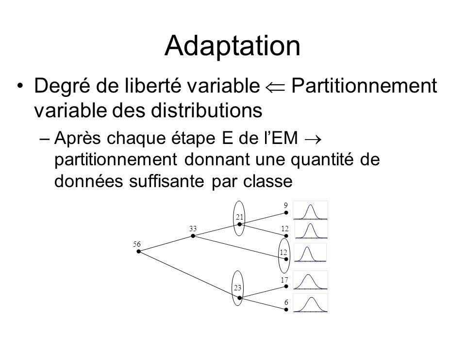 Adaptation Degré de liberté variable Partitionnement variable des distributions –Après chaque étape E de lEM partitionnement donnant une quantité de d