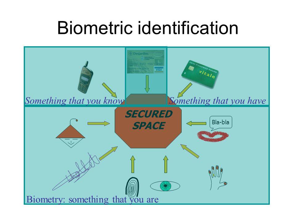 Biometric identification Bla-bla SECURED SPACE Biometry: something that you are Something that you know Something that you have