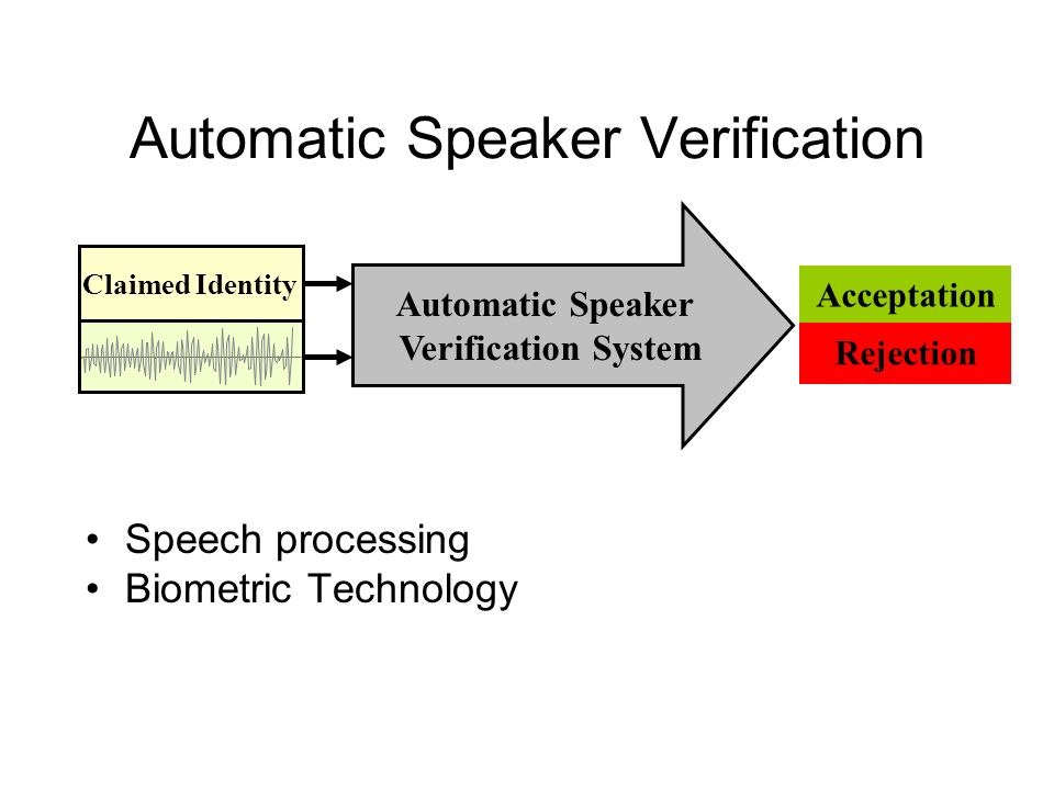 Automatic Speaker Verification Claimed Identity Automatic Speaker Verification System Acceptation Rejection Speech processing Biometric Technology