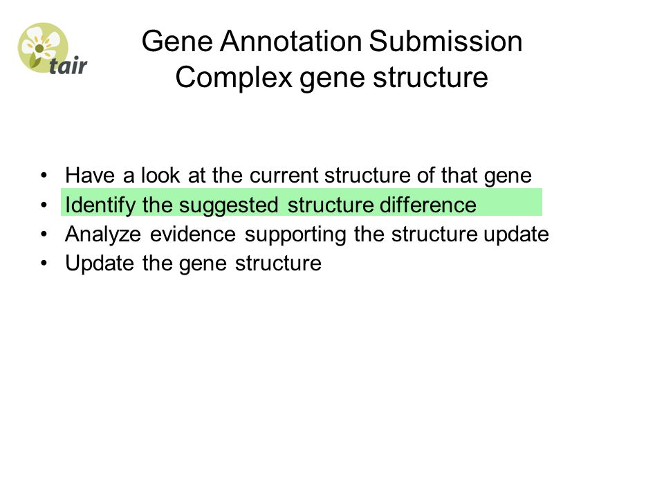 Gene Annotation Submission Complex gene structure Have a look at the current structure of that gene Identify the suggested structure difference Analyz