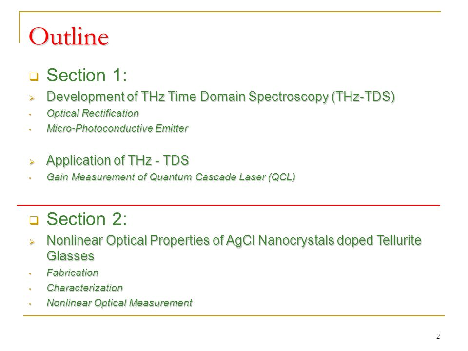 Section 1 Development & Application of THz Time Domain Spectroscopy 3