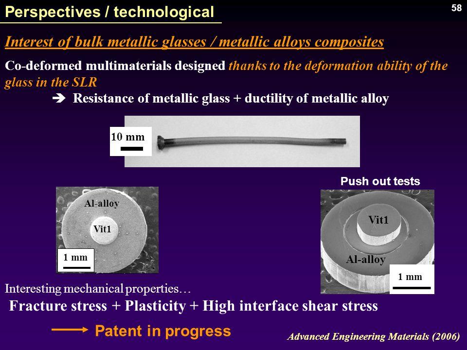 58 Perspectives / technological Interest of bulk metallic glasses / metallic alloys composites Patent in progress 10 mm Advanced Engineering Materials