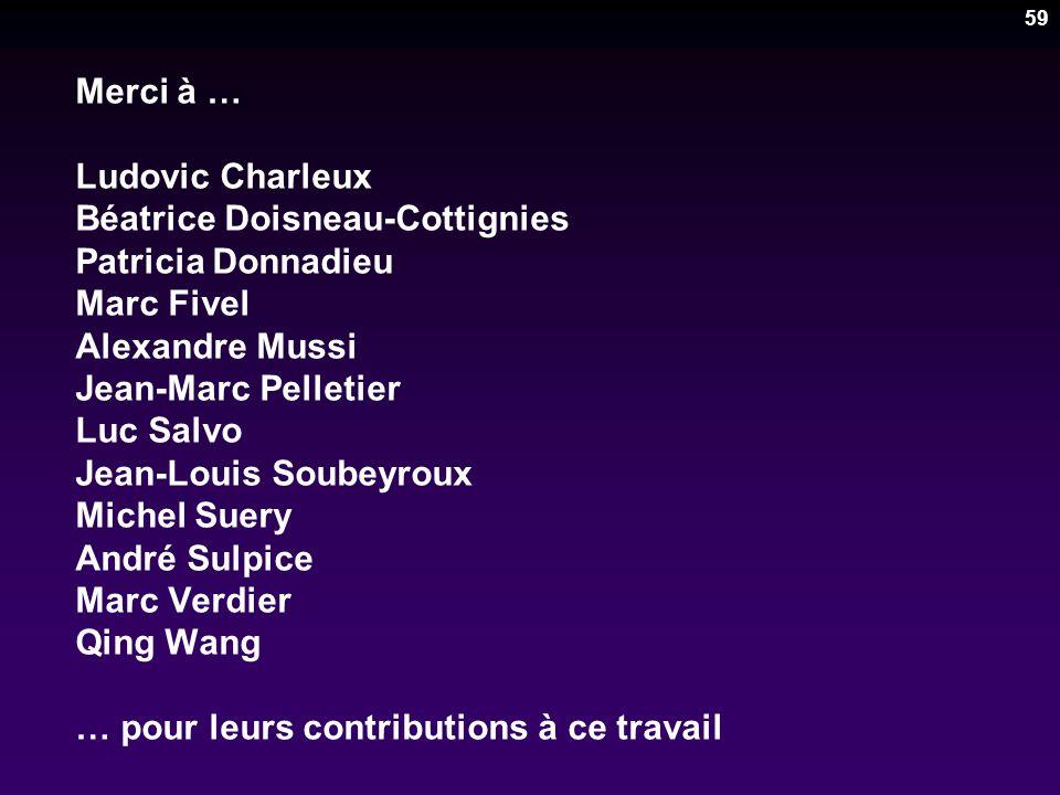 59 Merci à … Ludovic Charleux Béatrice Doisneau-Cottignies Patricia Donnadieu Marc Fivel Alexandre Mussi Jean-Marc Pelletier Luc Salvo Jean-Louis Soub