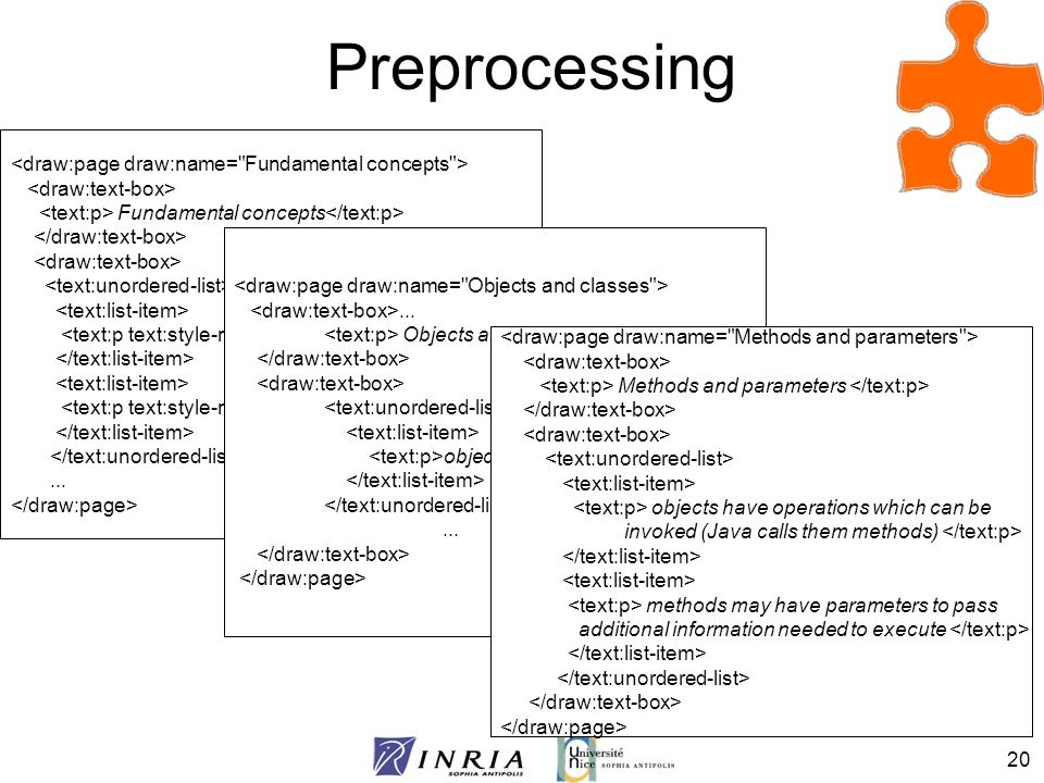 20 Preprocessing Fundamental concepts object class...... Objects and classes objects... Methods and parameters objects have operations which can be in