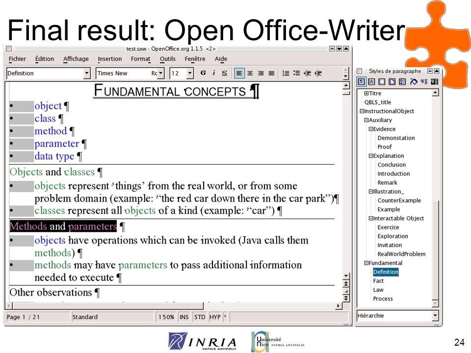 24 Final result: Open Office-Writer