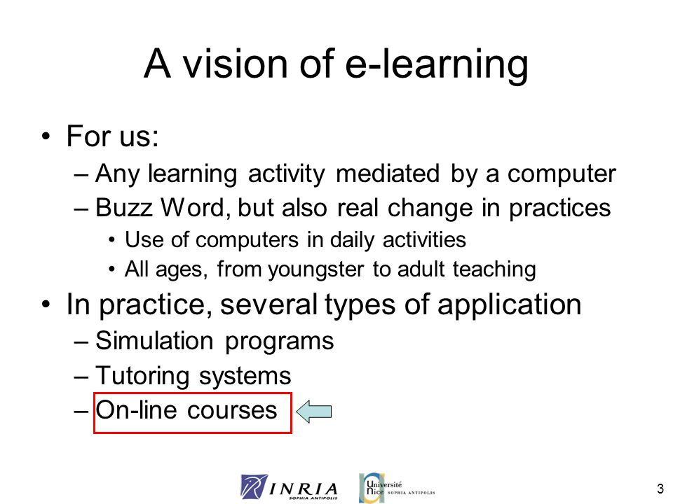 4 Our e-learning situation Learning organization –Teacher(s) with a group of students Environment –Computers for daily usage –Either on-line or face-to-face Knowledge Sources –Course documents –Teachers expertise Provide computer support for taking advantage of the knowledge sources
