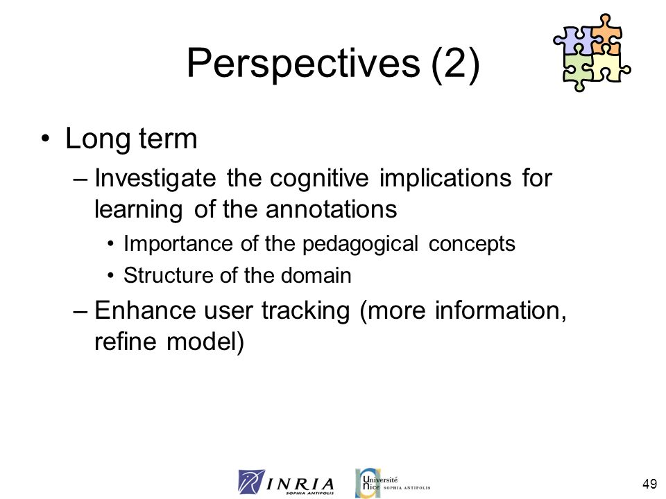 49 Perspectives (2) Long term –Investigate the cognitive implications for learning of the annotations Importance of the pedagogical concepts Structure