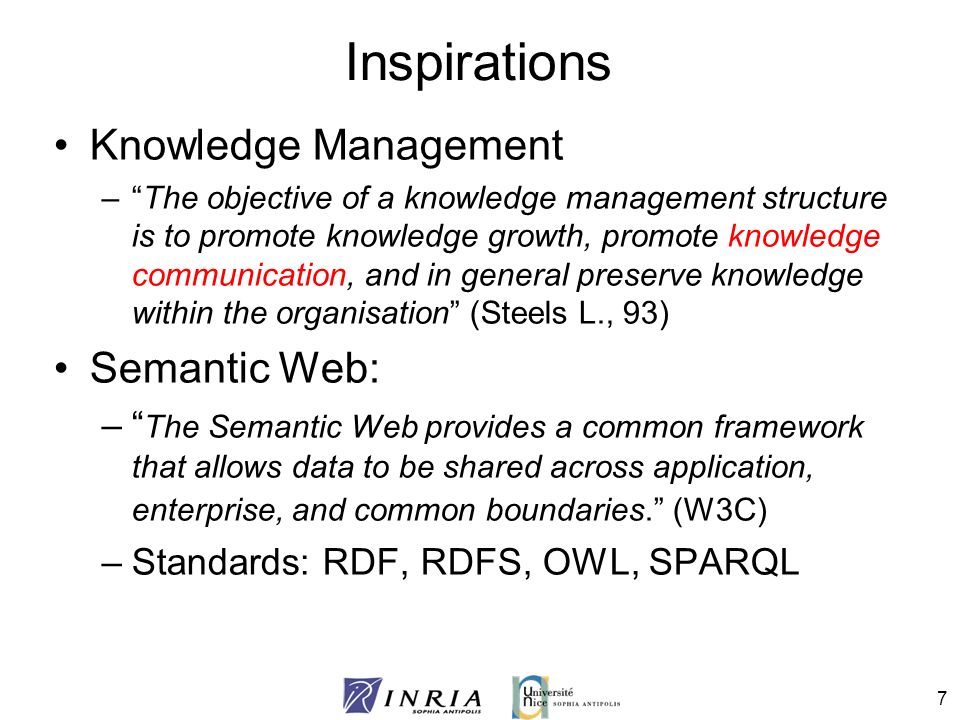 18 Preprocessing Identification of the content characteristics –Separation in small entities Automatic annotation –Vocabulary used domain concepts, automatic annotation with domain ontology –Resource roles pedagogical ontology Preparation –Styles reflect ontological concepts –enrich style lists with ontologies