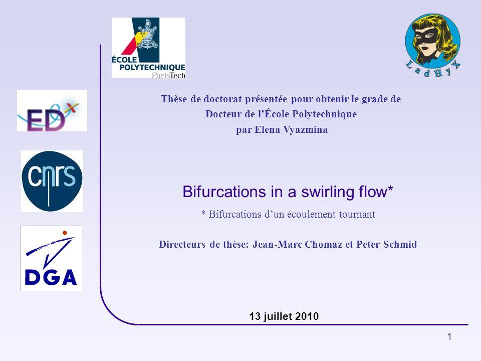 1 Bifurcations in a swirling flow* Thèse de doctorat présentée pour obtenir le grade de Docteur de lÉcole Polytechnique par Elena Vyazmina * Bifurcati
