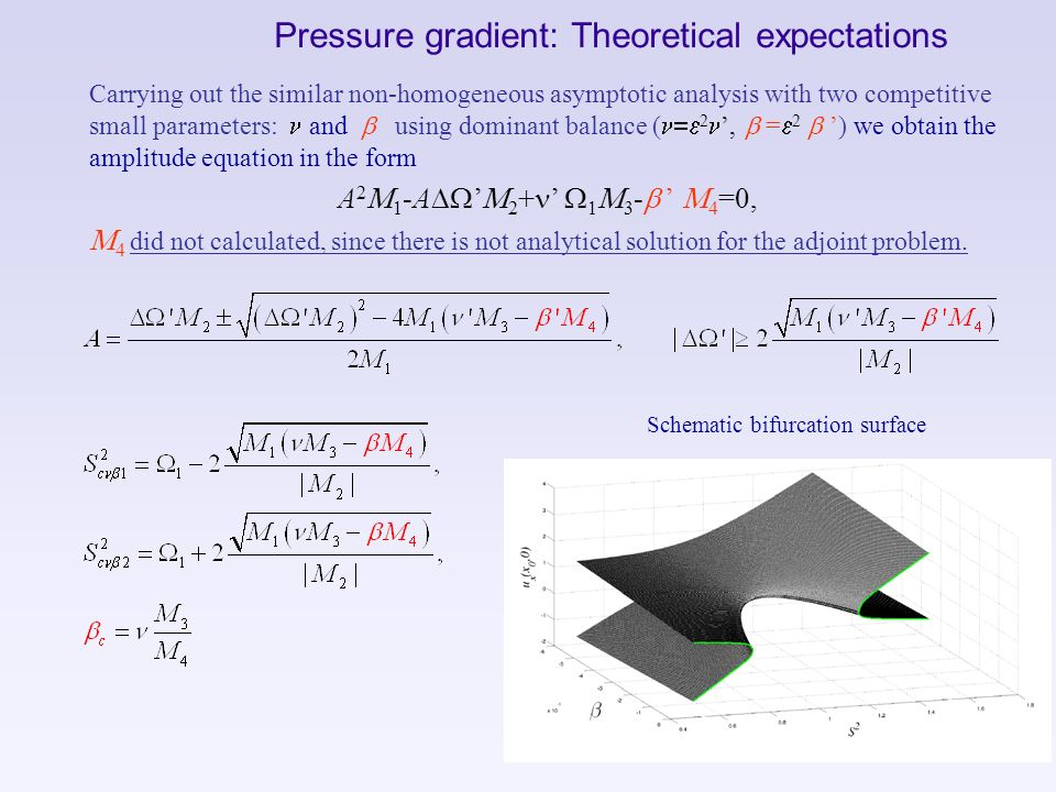 Pressure gradient: Theoretical expectations Carrying out the similar non-homogeneous asymptotic analysis with two competitive small parameters: n and