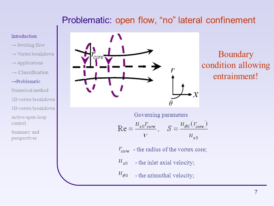 7 Problematic: open flow, no lateral confinement Governing parameters - the inlet axial velocity; - the azimuthal velocity; - the radius of the vortex