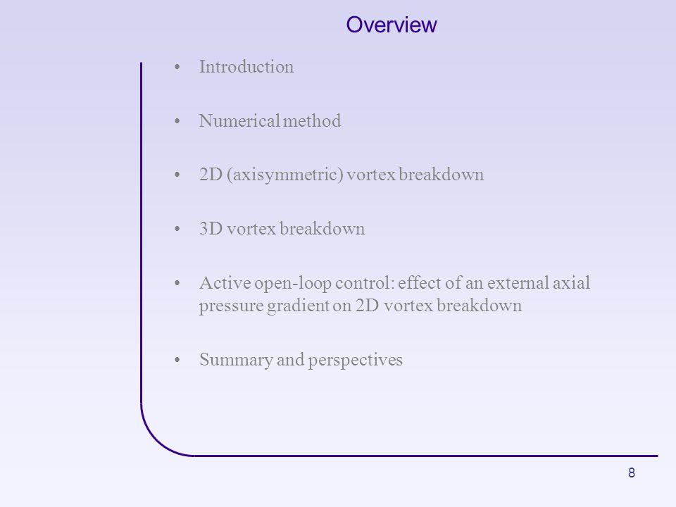 8 Overview Introduction Numerical method 2D (axisymmetric) vortex breakdown 3D vortex breakdown Active open-loop control: effect of an external axial