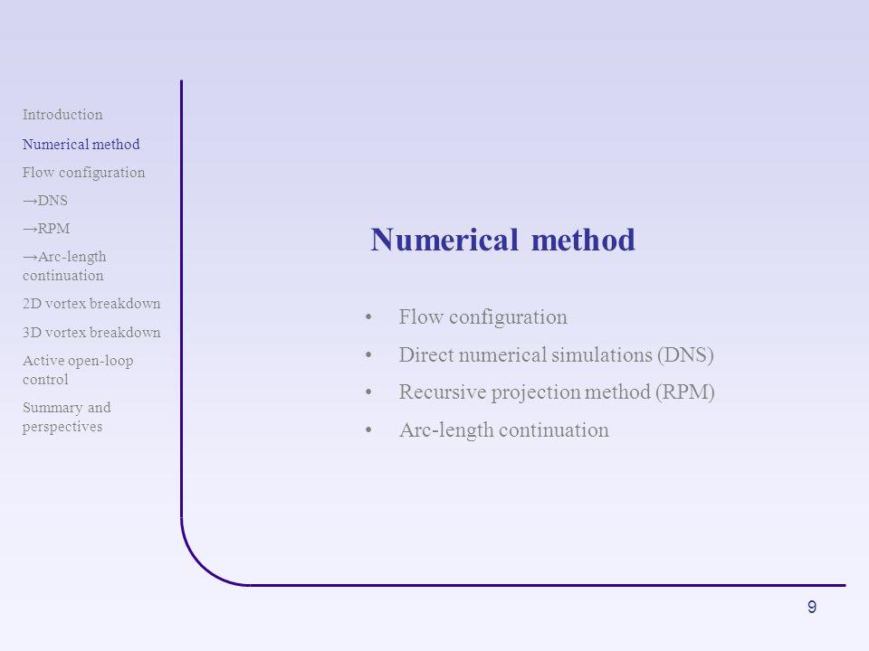 9 Numerical method Introduction Numerical method Flow configuration DNS RPM Arc-length continuation 2D vortex breakdown 3D vortex breakdown Active ope
