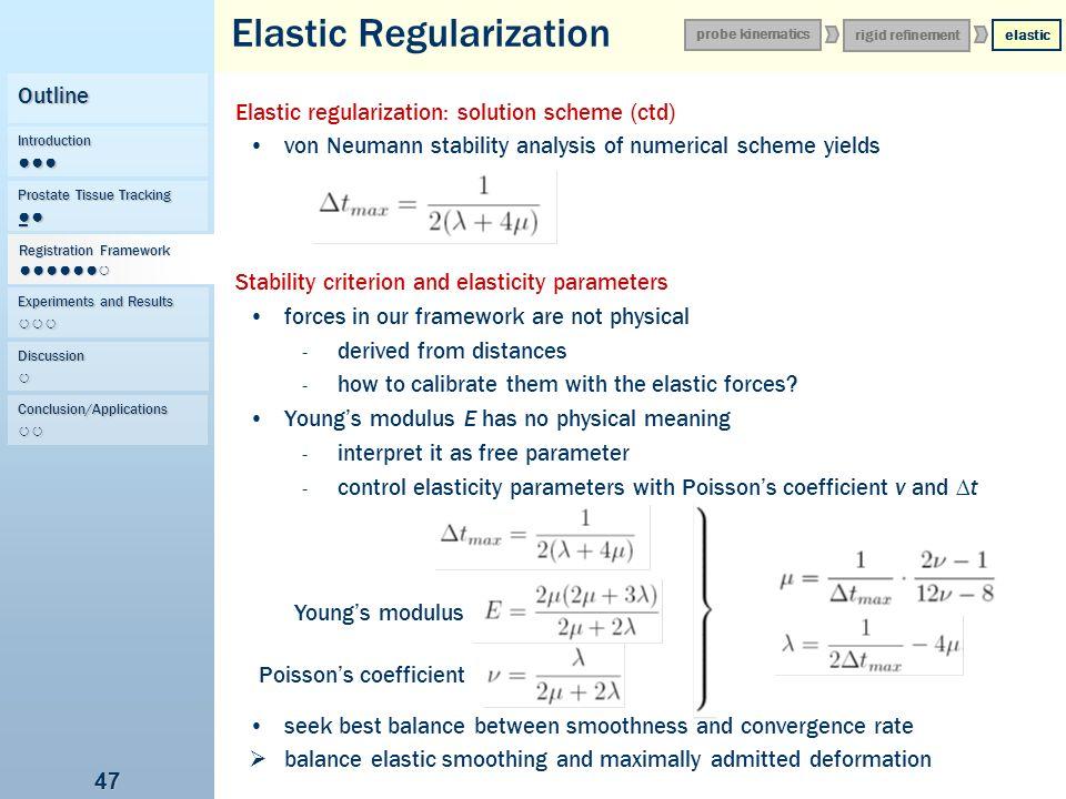 47 Elastic Regularization Elastic regularization: solution scheme (ctd) von Neumann stability analysis of numerical scheme yields Stability criterion