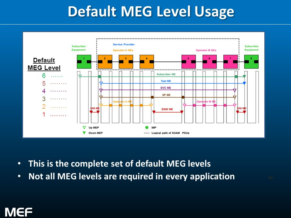 16 Default MEG Level Usage This is the complete set of default MEG levels Not all MEG levels are required in every application Default MEG Level 6 5 4