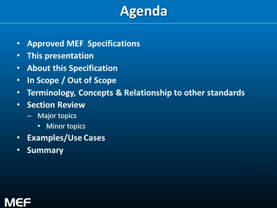 2 Agenda Approved MEF Specifications This presentation About this Specification In Scope / Out of Scope Terminology, Concepts & Relationship to other