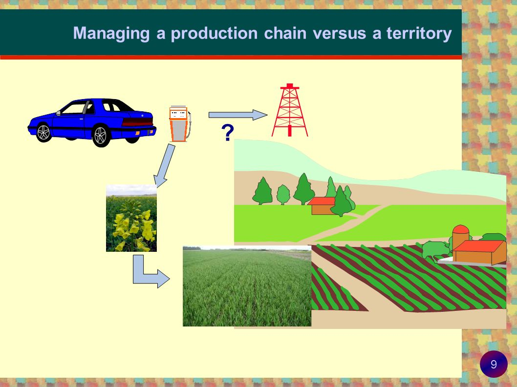 8 Methodology for environmental assessment Need for integrated assessment, across Compounds and environmental compartments Elementary parts of a production chain Time A spatial territory relevant to the production or environmental issue at stake To avoid or manage trade-offs between Environmental issues Geographical locations Generations !
