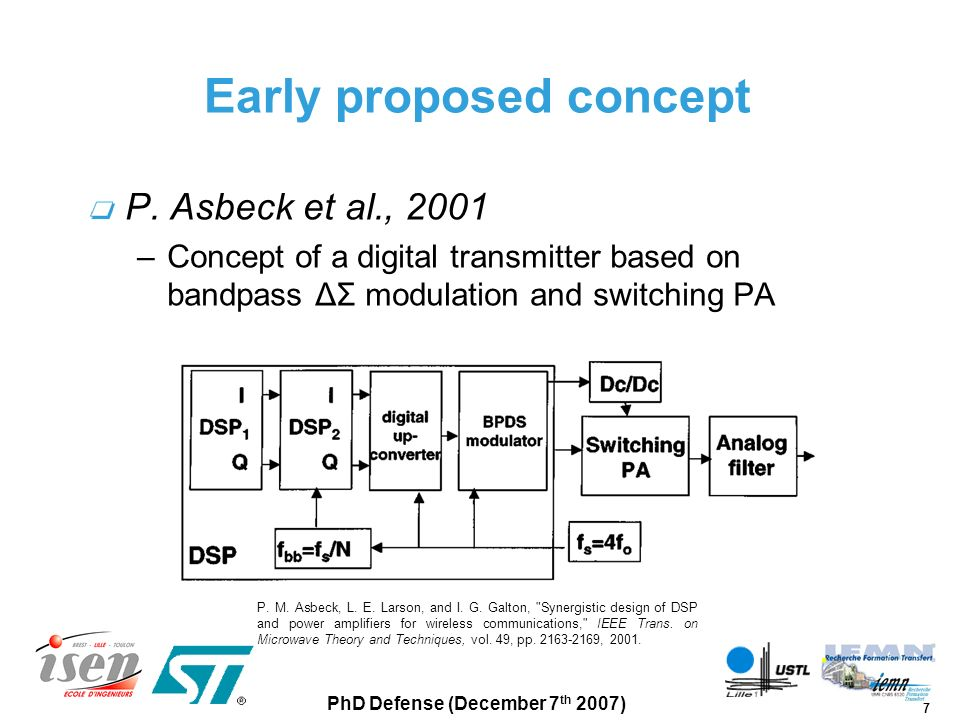 28 PhD Defense (December 7 th 2007) ΔΣ modulator system design Conclusion Implementation of a very high-speed digital ΔΣ modulator with : –redundant arithmetic –non-exact quantization –output signal precomputation Covered by a patent FR0752701 (US application in progress)