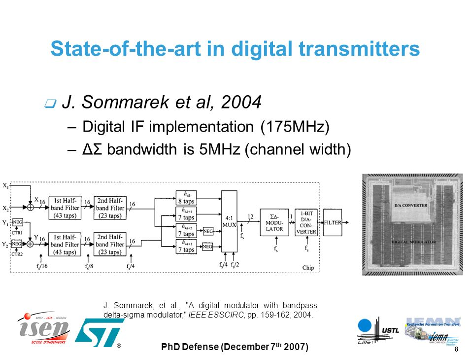 29 PhD Defense (December 7 th 2007) Outline Background Digital transmitter architecture ΔΣ modulator system design Digital transmitter circuit design –IC block structure and chip overview –ΔΣ core layout Experimental results Conclusion and future directions
