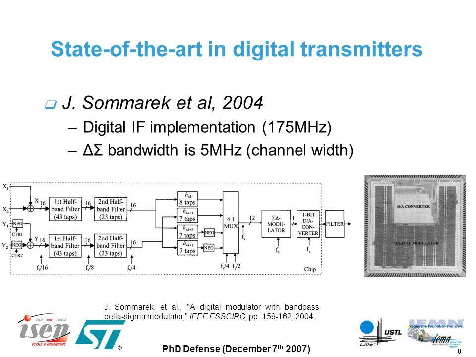 19 PhD Defense (December 7 th 2007) ΔΣ modulator system design 3 rd order lowpass ΔΣ modulator Major feedback creates a 40MHz notch OSR=~40 –Bandpass is ~100MHz –Sampling rate is 3.9GS/s 16 bits 1 bit