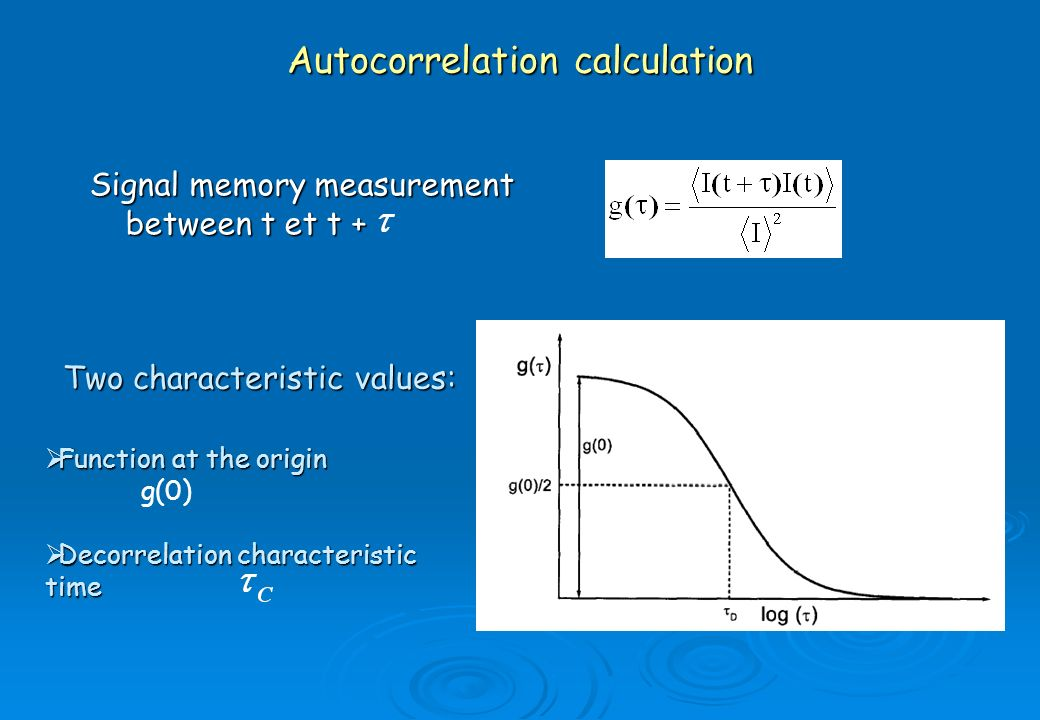 Autocorrelation calculation Signal memory measurement between t et t + Two characteristic values: Function at the origin Function at the origin g(0) D