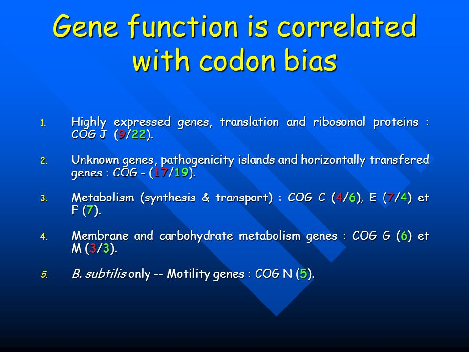 Gene function is correlated with codon bias 1. Highly expressed genes, translation and ribosomal proteins : COG J (9/22). 2. Unknown genes, pathogenic