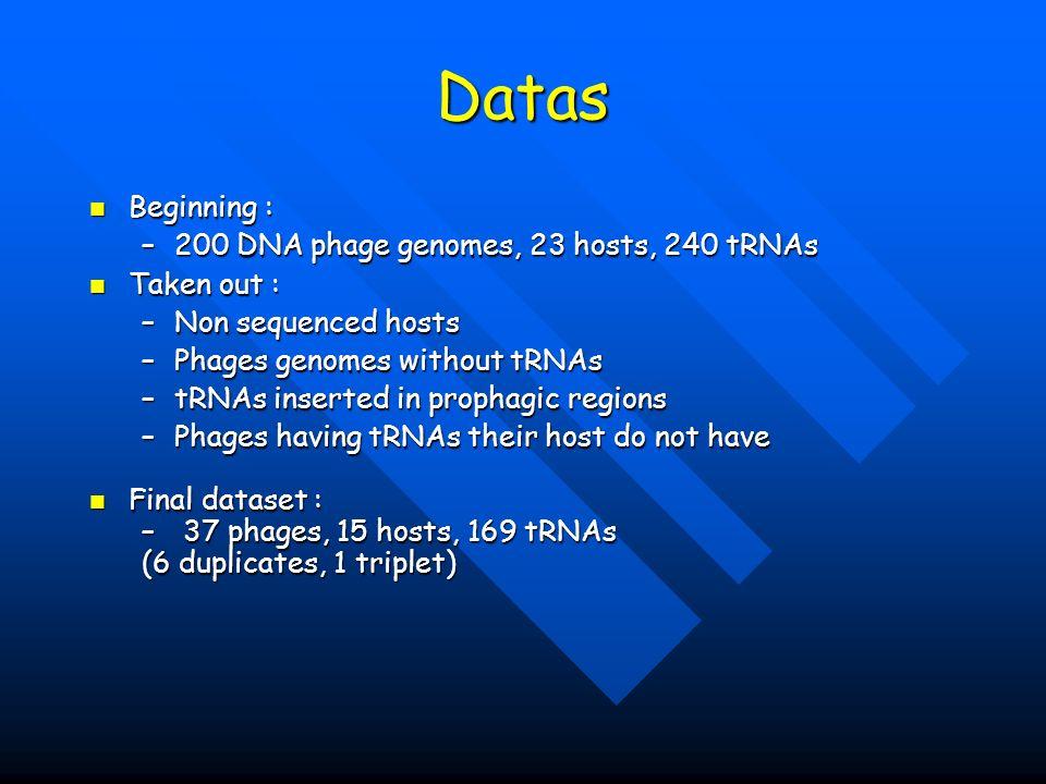 Datas Beginning : Beginning : –200 DNA phage genomes, 23 hosts, 240 tRNAs Taken out : Taken out : –Non sequenced hosts –Phages genomes without tRNAs –tRNAs inserted in prophagic regions –Phages having tRNAs their host do not have Final dataset : Final dataset : – 37 phages, 15 hosts, 169 tRNAs (6 duplicates, 1 triplet)