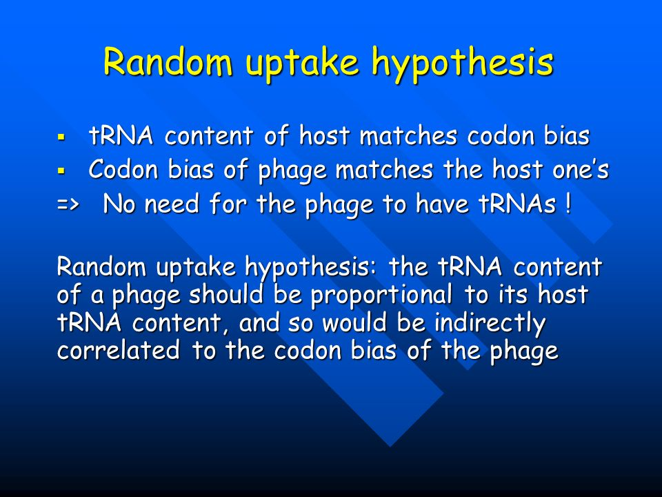 Random uptake hypothesis tRNA content of host matches codon bias tRNA content of host matches codon bias Codon bias of phage matches the host ones Cod