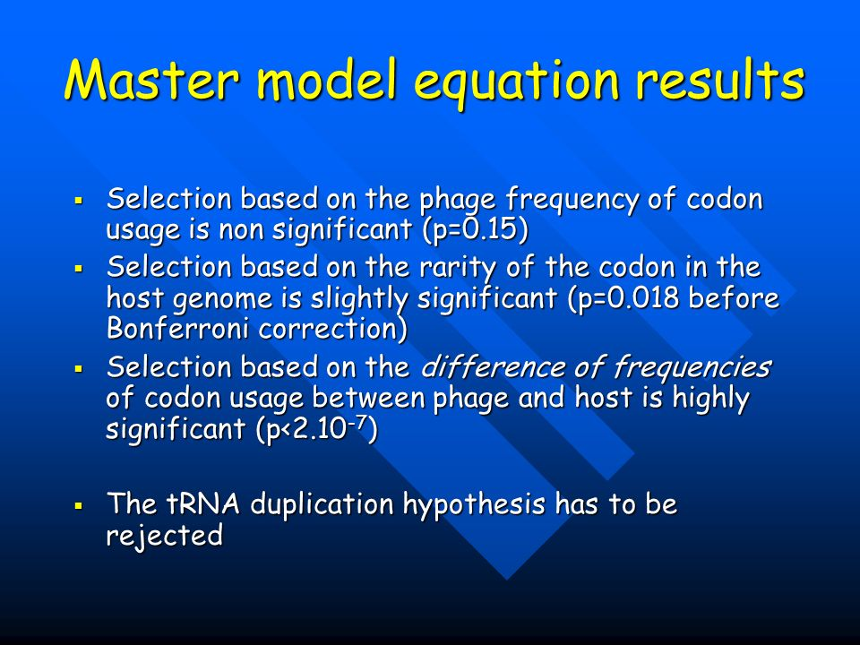 Master model equation results Selection based on the phage frequency of codon usage is non significant (p=0.15) Selection based on the phage frequency