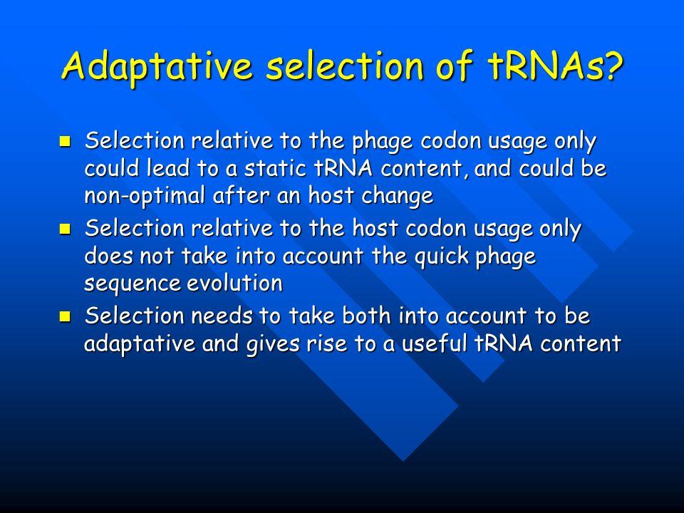 Adaptative selection of tRNAs.