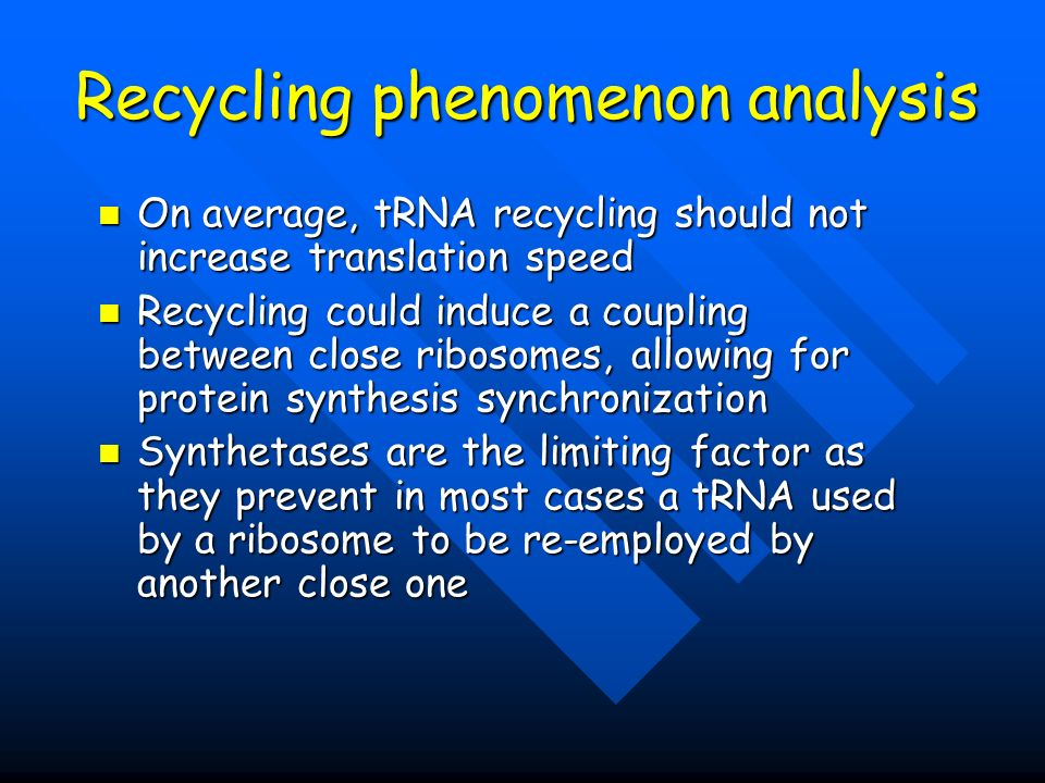 Recycling phenomenon analysis On average, tRNA recycling should not increase translation speed Recycling could induce a coupling between close ribosomes, allowing for protein synthesis synchronization Synthetases are the limiting factor as they prevent in most cases a tRNA used by a ribosome to be re-employed by another close one