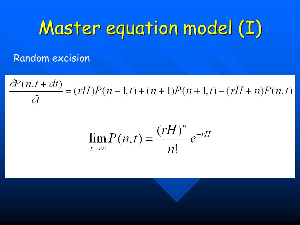 Master equation model (I) Random excision